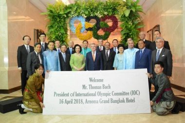 Thomas Bach President of IOC visit Bangkok and Arnoma Grand
