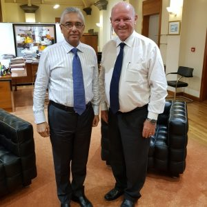 Mauritius Prime Minister Jugnauth meets with Alain St.Ange of Seychelles