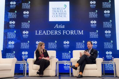 WTTC President and CEO Gloria Guevara interviewing James Riley, Group Chief Executive, Mandarin Oriental Hotel Group